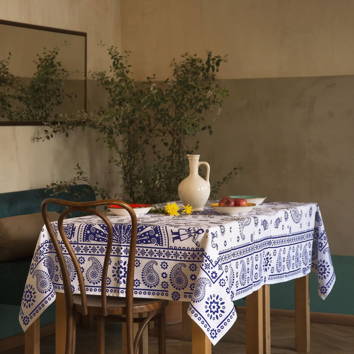 Kala (White) - Georgian Traditional Blue Tablecloth