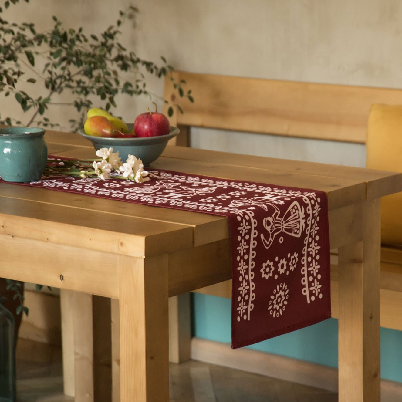 Chorsu (Red) - Georgian Traditional Blue Tablecloth