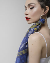 Load image into Gallery viewer, Silk scarf - Meidani - Blue/Gold