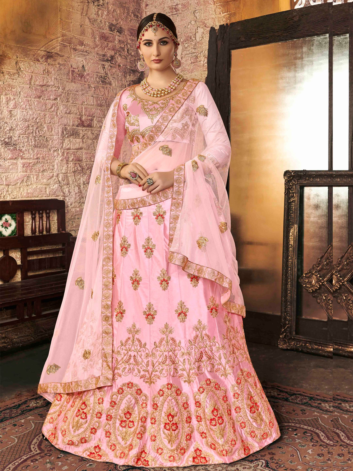 5cd73868a5 Hover to zoom · Hover to zoom. Light Pink Color Art Silk Embroidered Wedding  Lehenga Choli