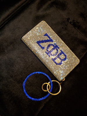 ΖΦΒ  Bling Wallet with Blue Bracelet Strap