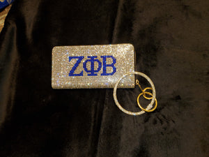 ΖΦΒ  Bling Wallet with Silver Bracelet Strap