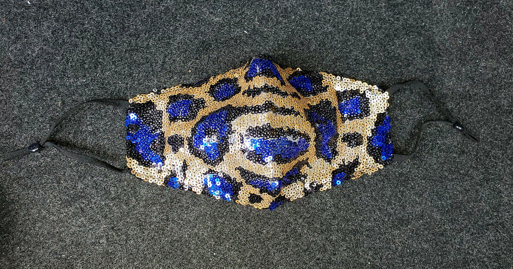 Blue Leopard Bling Mask