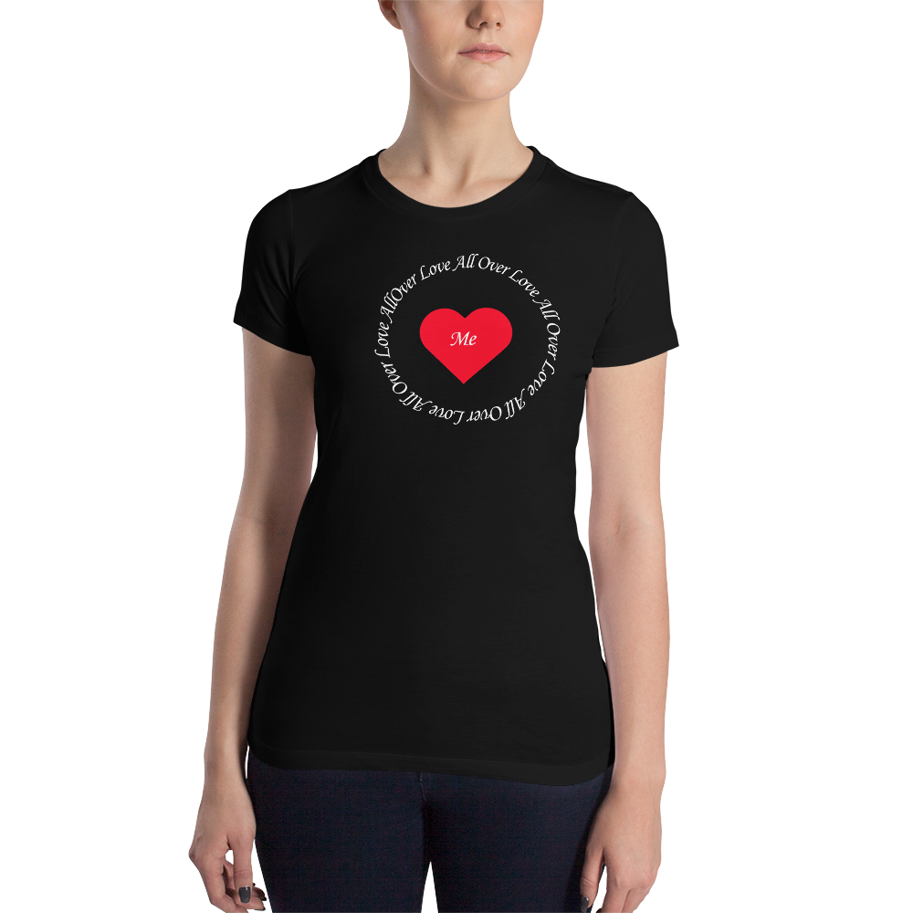 Love All Over White Print - Women's Slim Fit T-Shirt