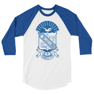 Phi Beta Sigma Shield - 3/4 sleeve raglan shirt
