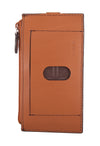 "Audrey RFID 5"" Credit Card Case with Zipper Pocket in Toffee"