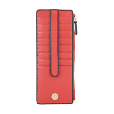 Rodeo RFID Credit Card Case with Zipper Pocket in Brick