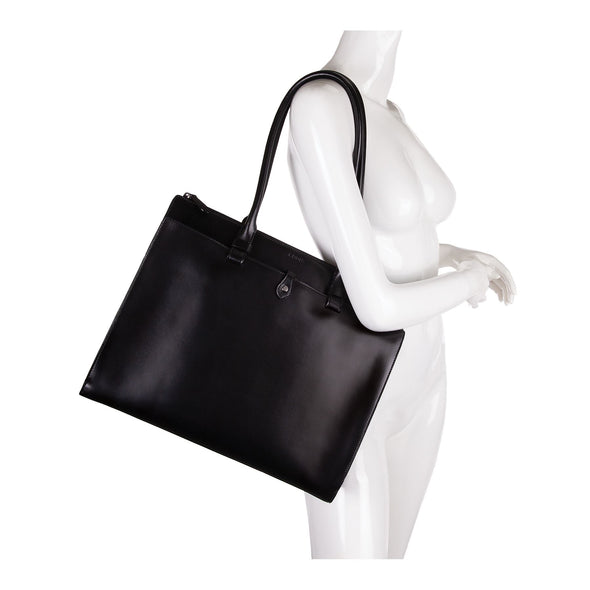 Audrey RFID Jessica Work Satchel in Black/Black