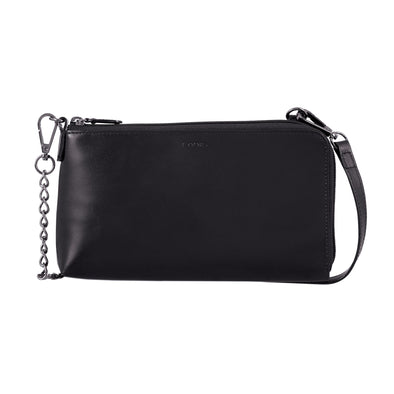 Audrey RFID Nova L-Zip Crossbody in Black/Black