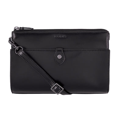 Audrey RFID Vicky Convertible Crossbody Clutch in Black/Black