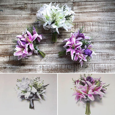 PACKAGE - CHARLOTTE  - wedding flower package, 3 bouquets, lilies, roses, baby breath, purple, mauve white bouquets