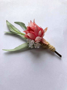 JACKSON - Artificial wedding flower buttohole for groom & groomsmen