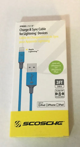 SCOSCHE iPhone Lightning Charge 3ft Blue I2PKA Strikeline II MFI Certified & Sync - Deal Changer