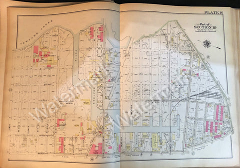 Brooklyn Vintage Map 1908 Plate 16 Part Section10 Newtown Creek Metropolitan Ave - Deal Changer