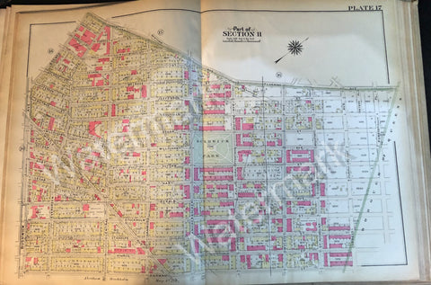 Antique Brooklyn Map 1908 Plate 17 Part of Section 2 - Bushwick Park Myrtle Irving Wyckoff ++ - Deal Changer