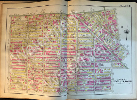 Brooklyn Original Map 1908 Plate 18 Part Sections 6 & 11 Broadway Nostrand Marcy - Deal Changer