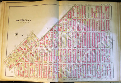 Brooklyn Original Map 1908 Plate 20 Part Section 6 & 11 Bushwick Howard Ralph ++ - Deal Changer