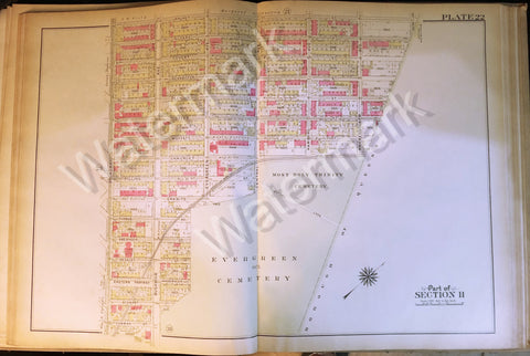 Brooklyn Original Map 1908 Bushwick Cooper Evergreen & Holy Trinity Cemetery +++ - Deal Changer