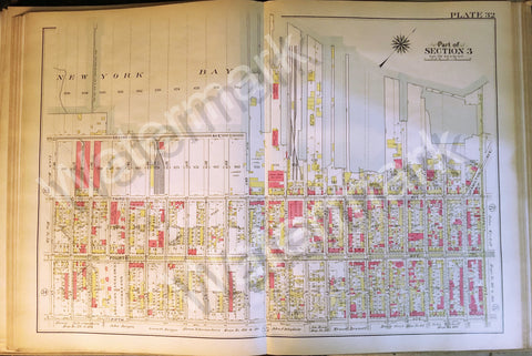 Map of Brooklyn Rare 1908 Antique Bay Ridge New York Bay Sec 3 2-5Ave 38th -17th - Deal Changer