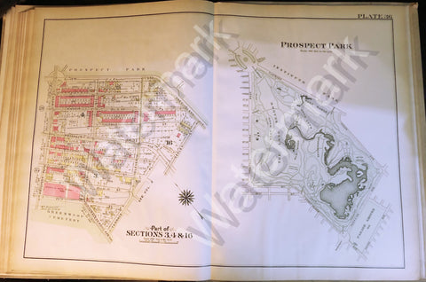 Map of Brooklyn Rare 1908 Vintage Antique Prospect Institute Park Coney Island++ - Deal Changer