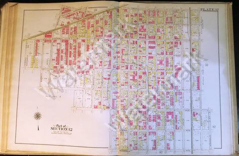 "Map of Brooklyn Rare 1908 Antique 22.5"" x 32"" East New York Van Sinderin Blake + - Deal Changer"