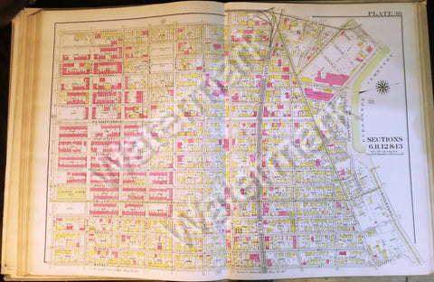 "Brooklyn Map 1908 Antique 22.5"" x 32"" Pennsylvania Atlantic New Jersey Jamaica++ - Deal Changer"