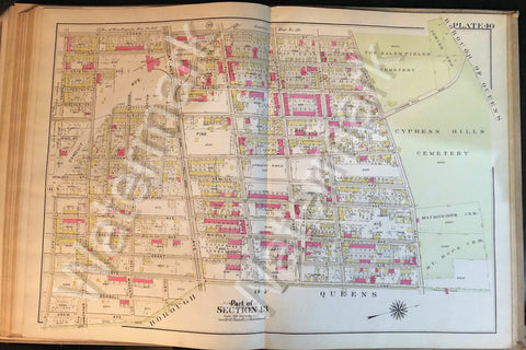 "Brooklyn Map 1908 Vintage 22.5"" x 32"" Atlantic Jamaica Conduit Fulton Railroad++ - Deal Changer"