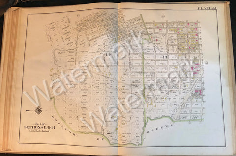 "Brooklyn Map 1908 Vintage 22.5"" x 32"" Cozine Old Mill Rd Standley Vandalia Ave + - Deal Changer"