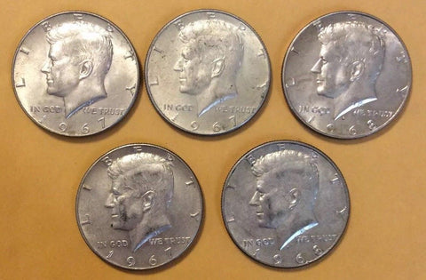 Kennedy Half Dollar Lot Of 5 40% Silver Kennedy Half Dollars 1965 - 1969 Mixed - Deal Changer