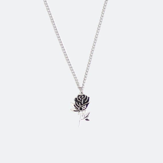 Dangling Rose Tattoo Necklace