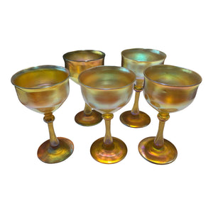 Early 20th Century Louis C Tiffany Studios Water Goblets - Set of 5