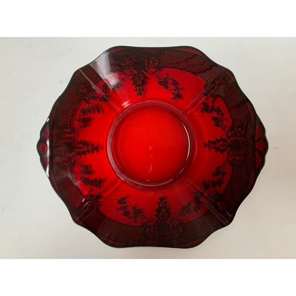 Vintage Ruby Glass Serving Plate With Silver Inlay