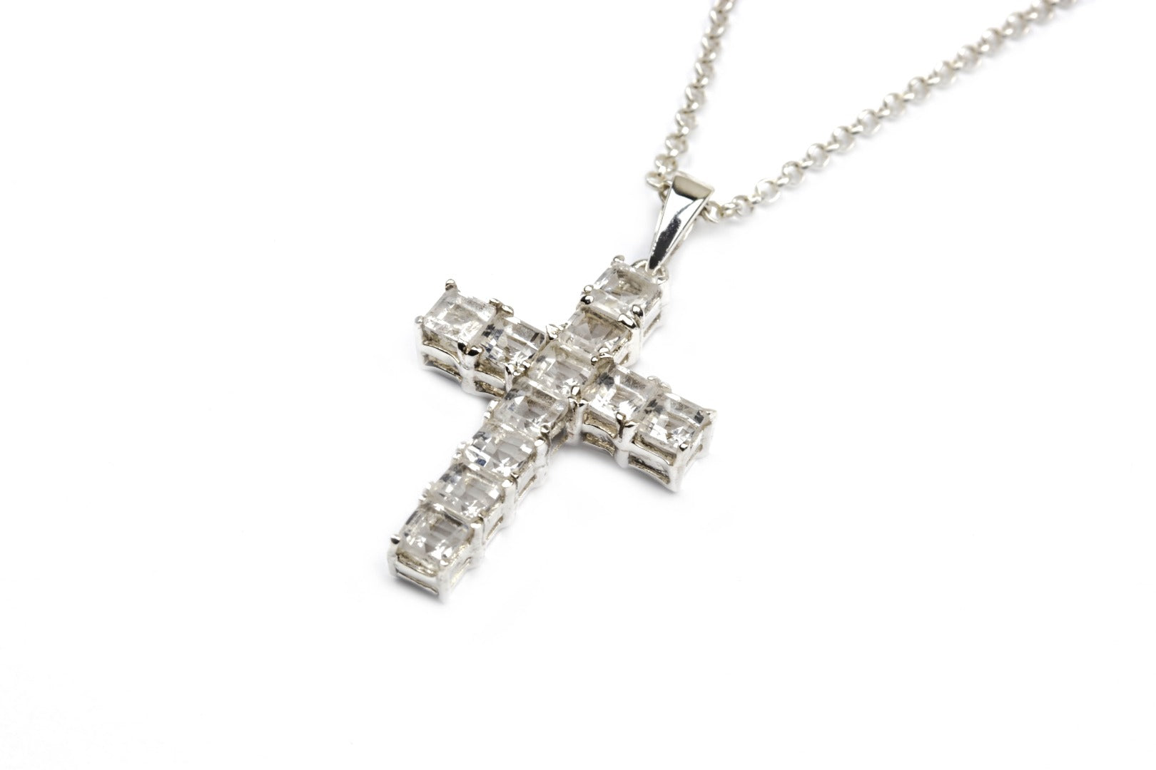 Satyaloka Faceted Sterling Silver Cross Pendant ~ (120004)