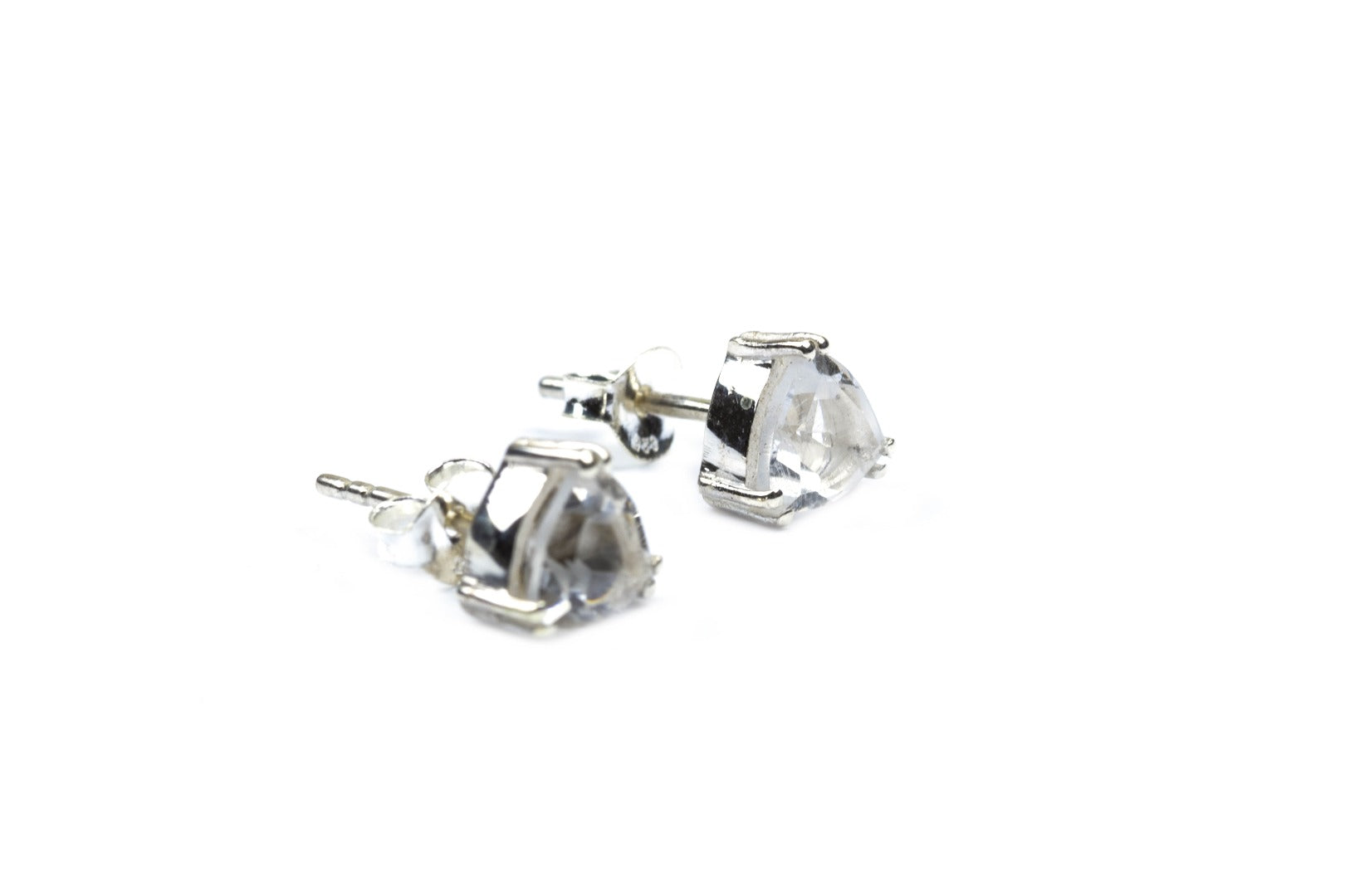 Azeztulite Satyaloka Sterling Silver Triangle Earrings ~ 12 Synergy Stone ~
