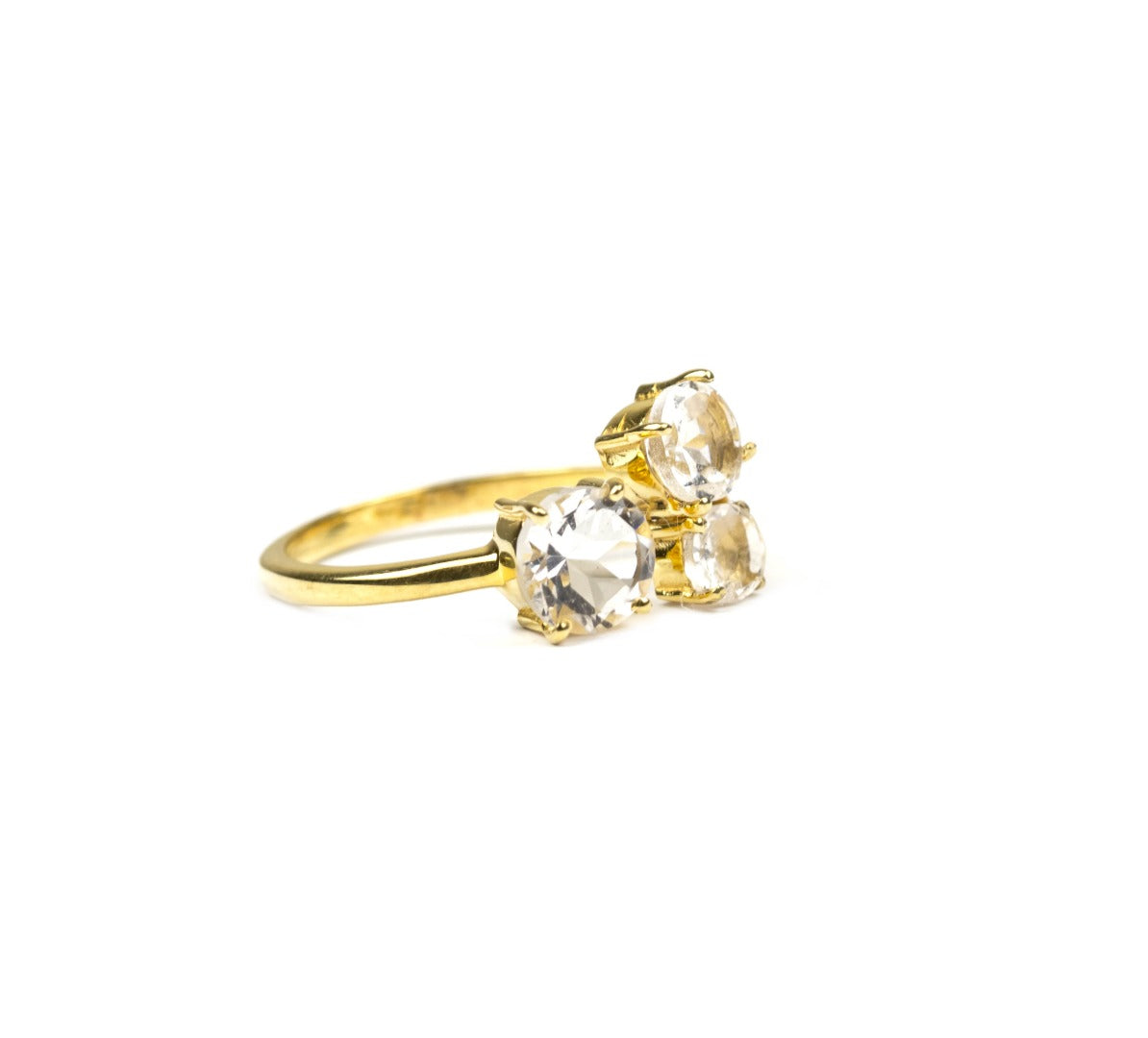 Azeztulite Satyaloka Quartz 9 Carat Gold Faceted Ring  Size N (481096)