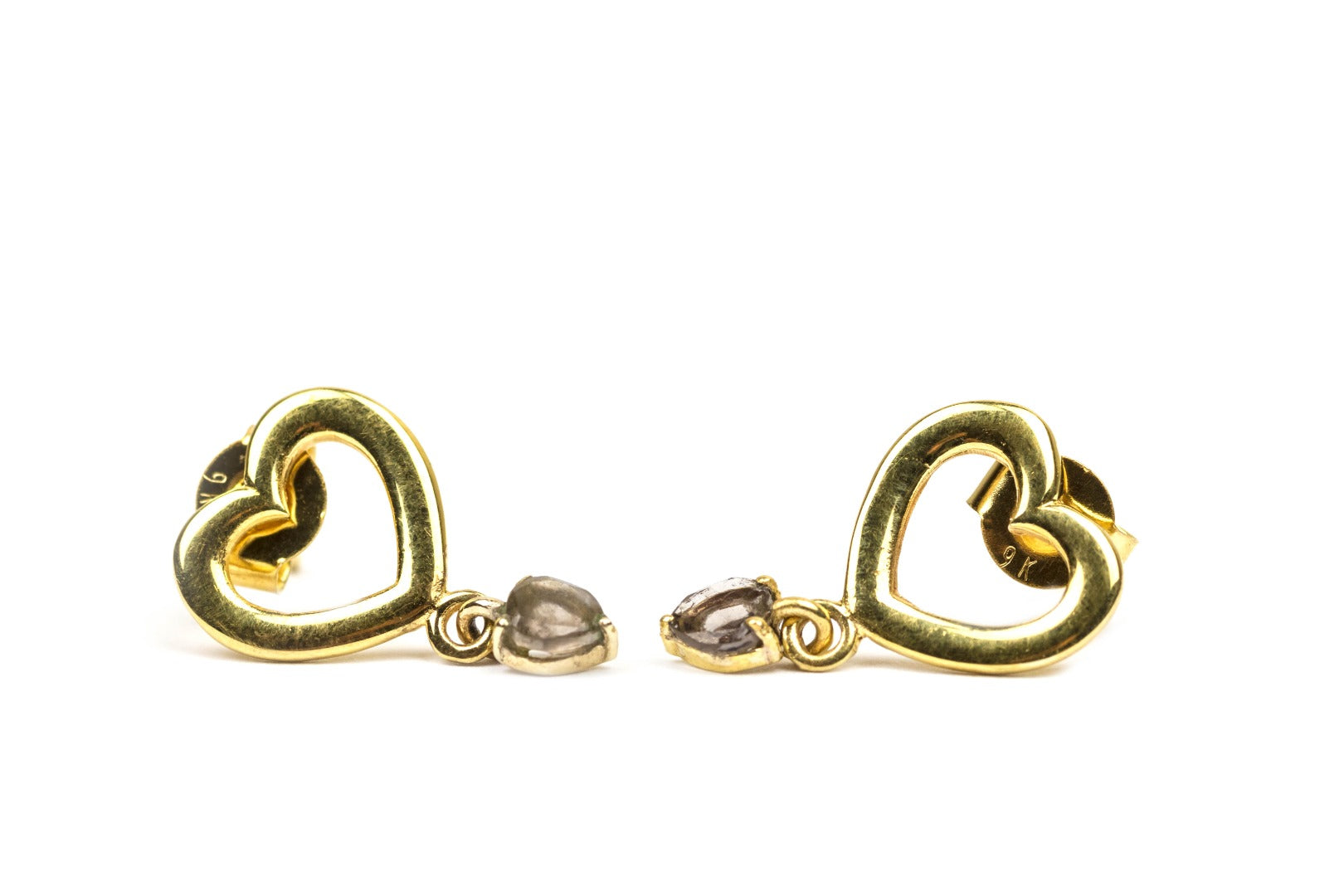 Cintamani Faceted 9 Carat Gold Stud Heart Earrings ( 878992)