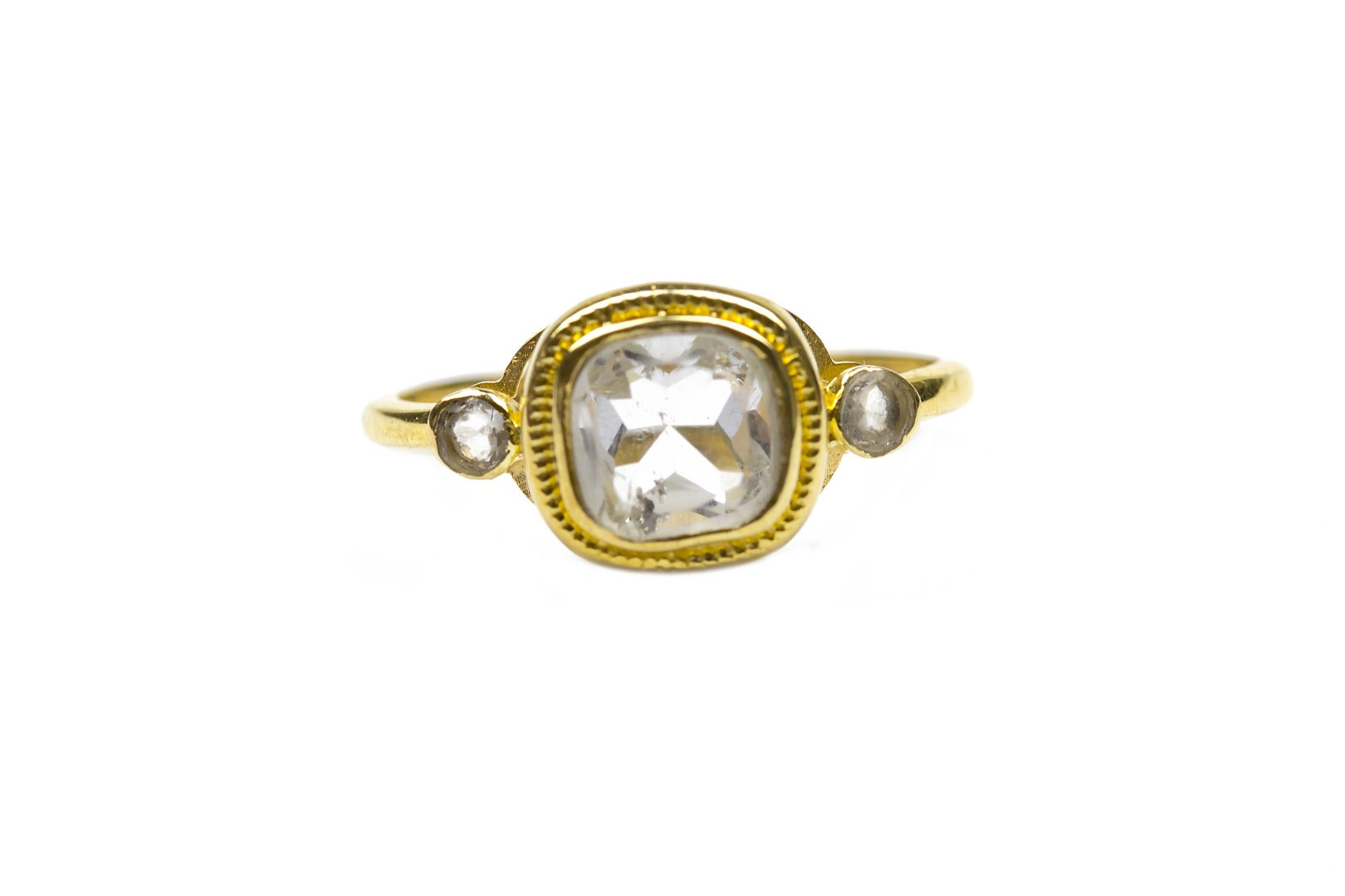 Azeztulite Satyaloka Quartz 9 Carat Gold Faceted Ring  Size O (990132)