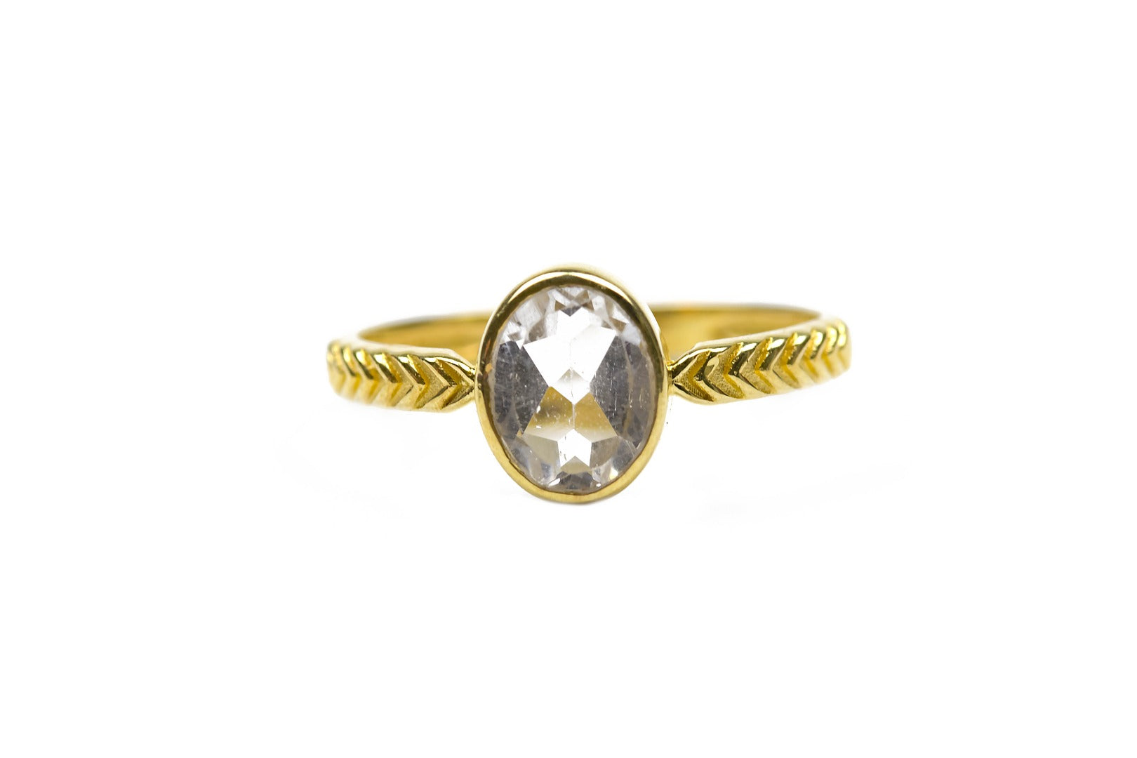 Azeztulite Satyaloka Quartz 9 Carat Gold Faceted Ring  Size O (181059)