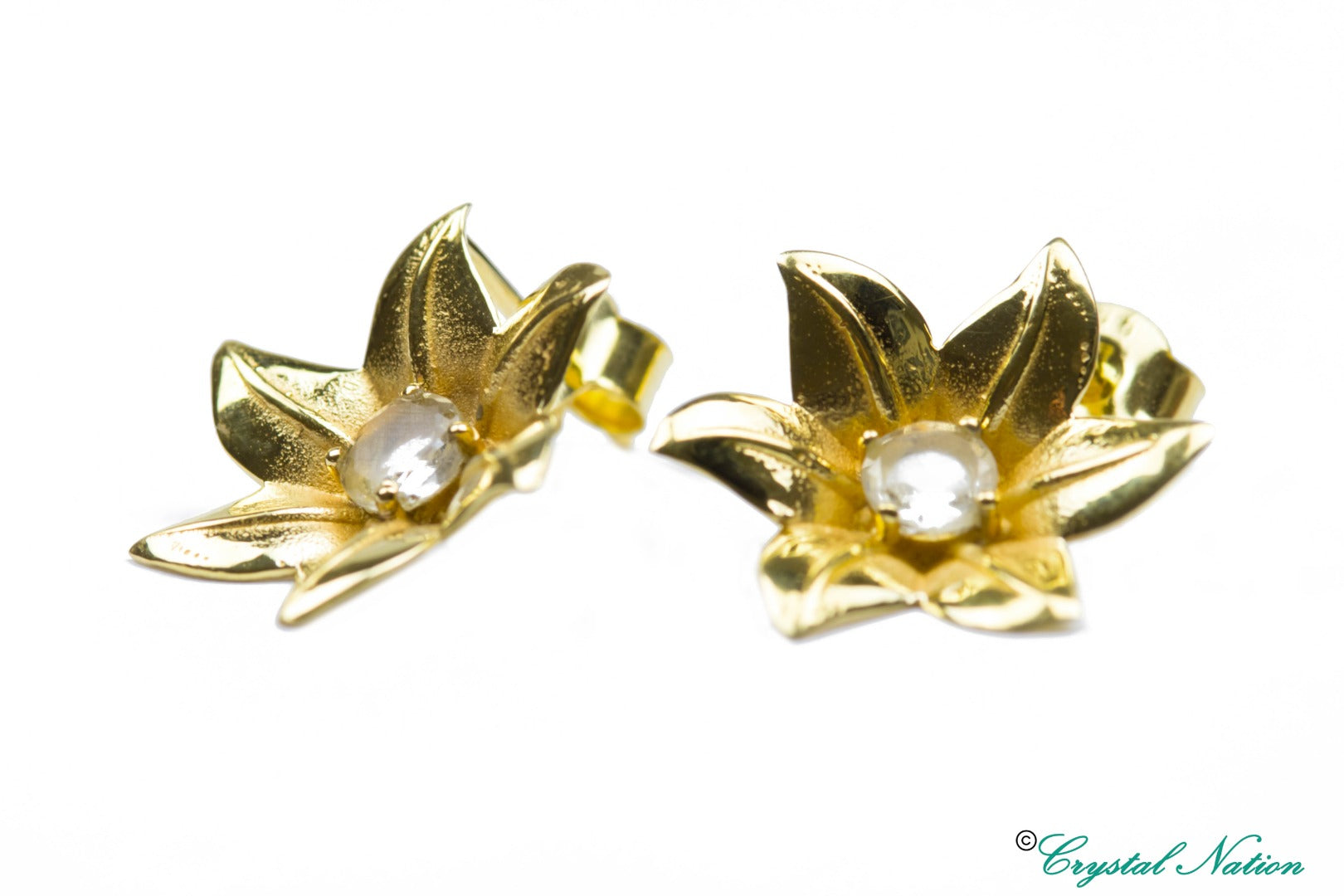 Libyan Desert Glass 9 Carat Gold Flower Earrings ~ (541678)