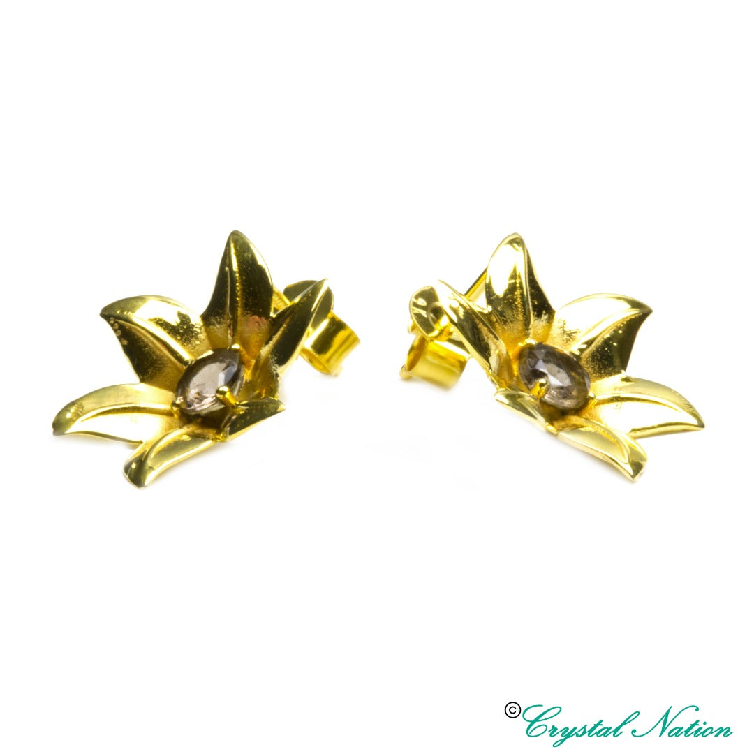 Cintamani Faceted 9 Carat Gold Flower Earrings  ( 308793)