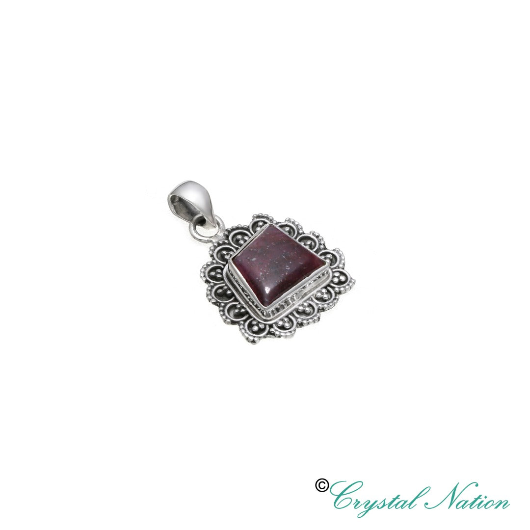 Ruby Sterling Silver Pendant~ Heart Chakra  ( 20581 )