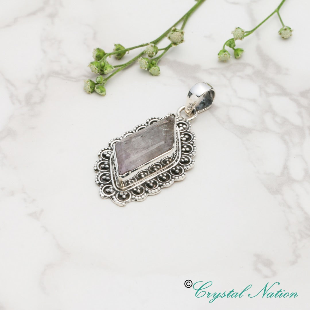 Kunzite Faceted Sterling Silver Pendant  ( 20618 )