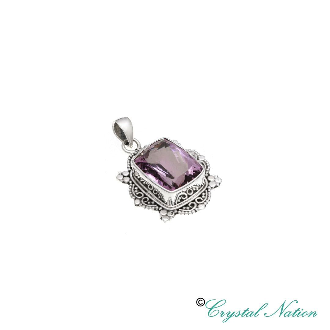 Amethyst Faceted Sterling Silver Pendant ( 21113 )