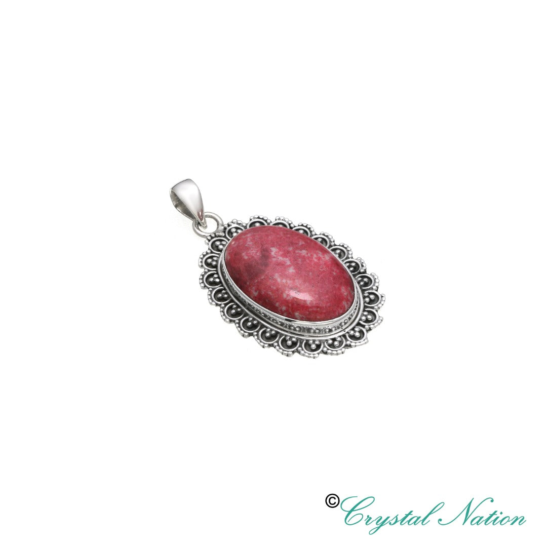 Thulite Sterling Silver Pendant   ( 20617 )