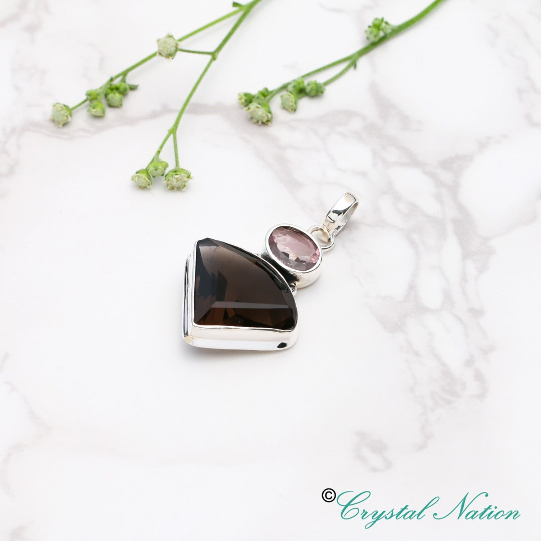 Cintamani Tourmaline Faceted Sterling Silver Pendant ( 20146 )