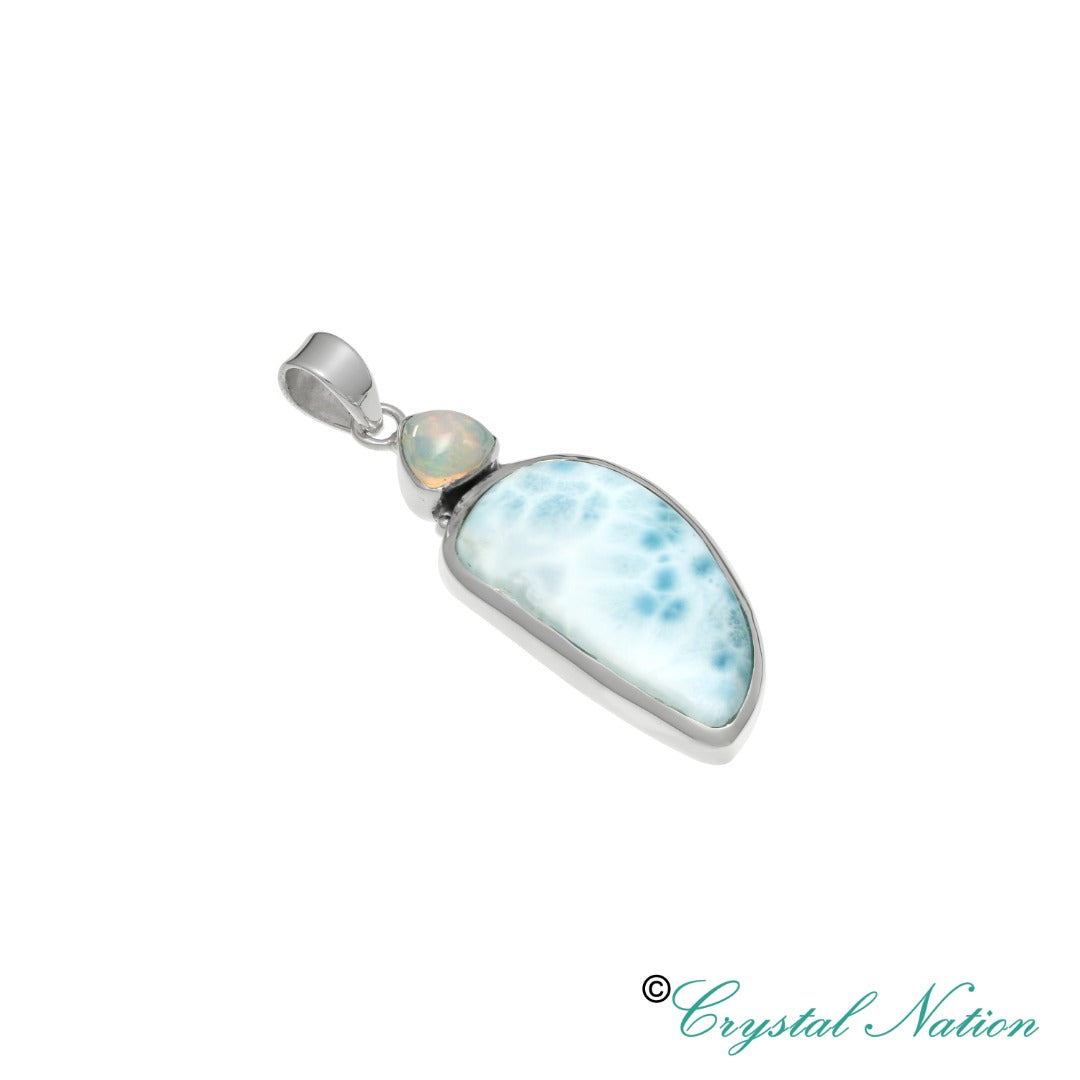Larimar Opal Sterling Silver Pendant- Dolphin Stone  ( 20232 )