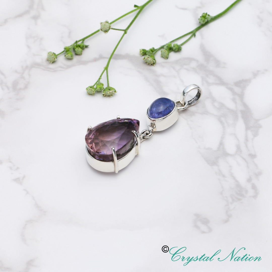 Ametrine Tanzanite Faceted Sterling Silver Pendant   ( 20182 )