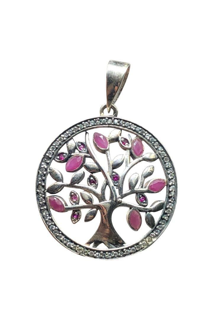 Ruby Tree of Life Silver Pendant - - Crystal Nation