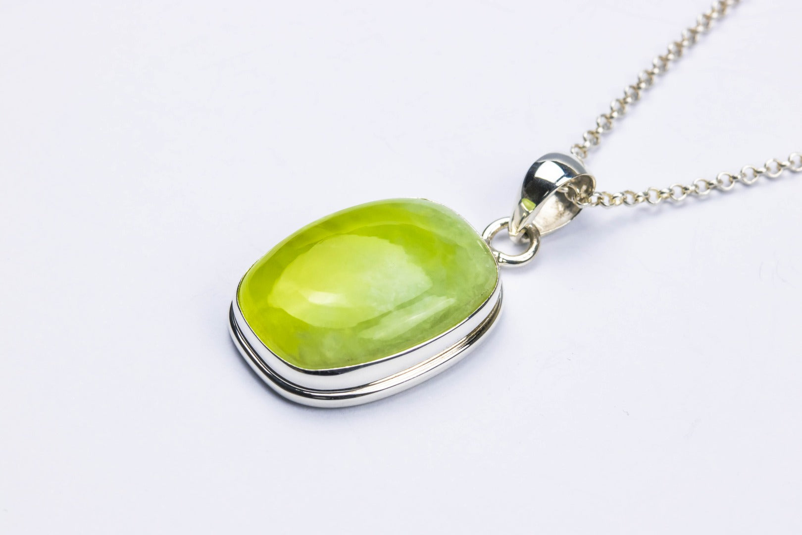 Prehnite Sterling Silver Pendant~Unconditional Love ( 264347)