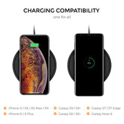 Freedy 10W Qi Certified Wireless Charger Pad Designed for Qi-Enabled Phones - [Qi-Certified & Fast] - Black